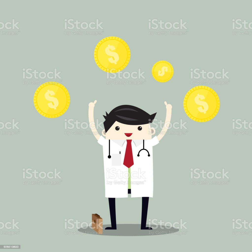 doctor and money treatment and payment vector problem collecting
