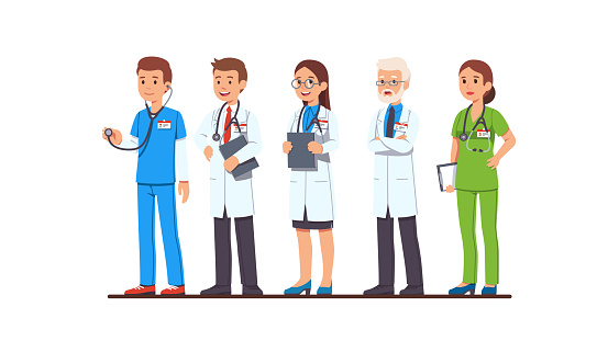 Doctor and nurse characters set. Full length man and woman doctors wearing uniform, white coat and scrubs, glasses, holding clipboard and stethoscope. Flat cartoon vector character illustration
