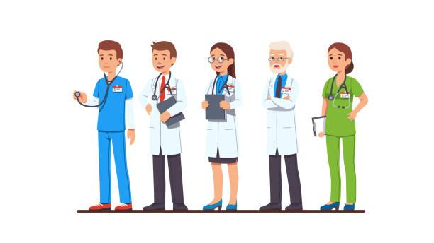의사와 간호사 문자를 설정 합니다. 전체 길이 남성과 여성 의사 유니폼을 입고, 흰색 코트와 스크럽, 안경, 클립 보드 및 청진 기를 들고. 편평한 만화 벡터 캐릭터 일러스트 - doctor stock illustrations