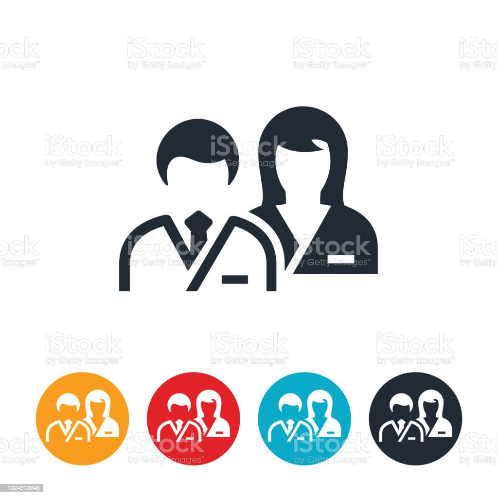 Doctor and Nurse Icon vector art illustration