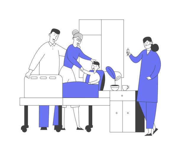 arzt und krankenschwester in kammer besuch kleine patient. medizin gesundheitsversorgung, medizinisches personal praktiker und junge mit mutter in krankenhaus beratung diagnose behandlung cartoon flat vector illustration - hausarzt stock-grafiken, -clipart, -cartoons und -symbole