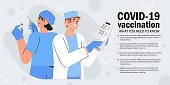 Doctor and nurse in clinic check patient list and prepare coronavirus vaccine for injection, concept illustration for immunity health. Immunization of adults or senior citizens banner or poster.
