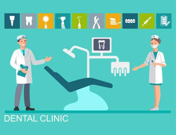 bildbanksillustrationer, clip art samt tecknat material och ikoner med läkare och sjuksköterska i tandläkarens - two dentists talking
