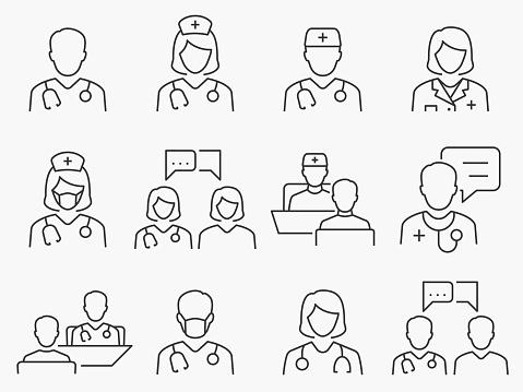 Doctor and Nurse line icons set. Black vector illustration. Editable stroke.