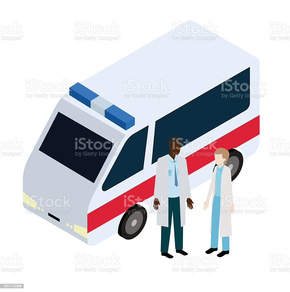 Doctor and nurse near ambulance vector art illustration