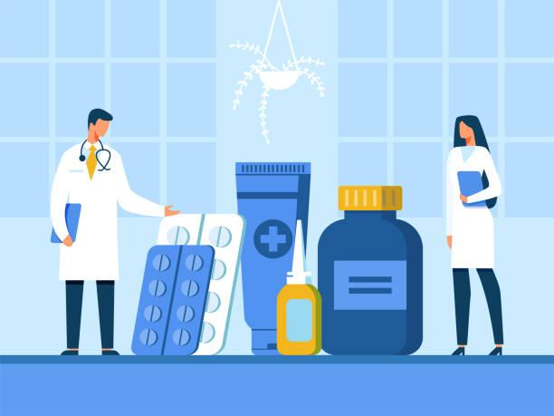 illustrazioni stock, clip art, cartoni animati e icone di tendenza di medico e infermiere che presentano l'illustrazione di nuovi farmaci - farmacia