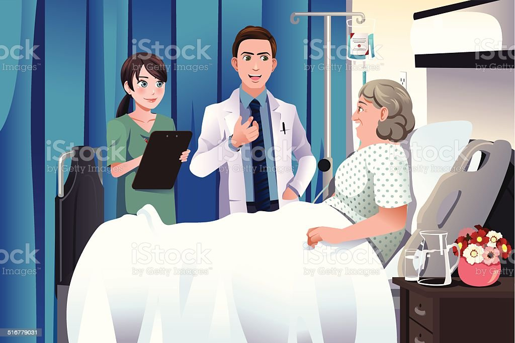 Doctor and nurse talking to a patient at the hospital vector art illustration