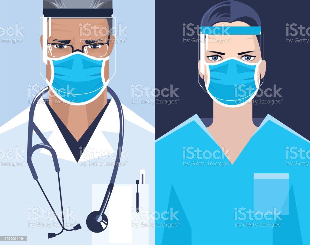 Doctor and nurse. - Grafika wektorowa royalty-free (Chirurg)
