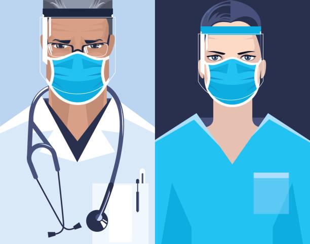 Doctor and nurse. – artystyczna grafika wektorowa