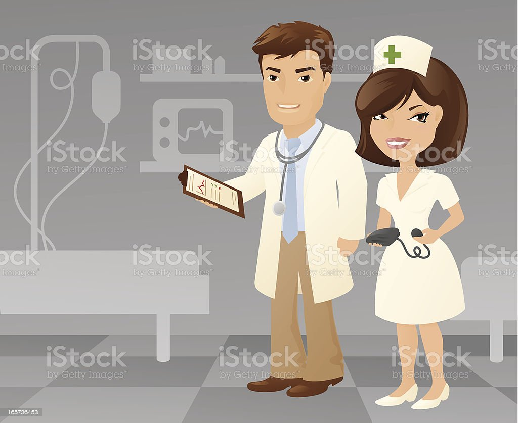 Doctor and Nurse royalty-free stock vector art