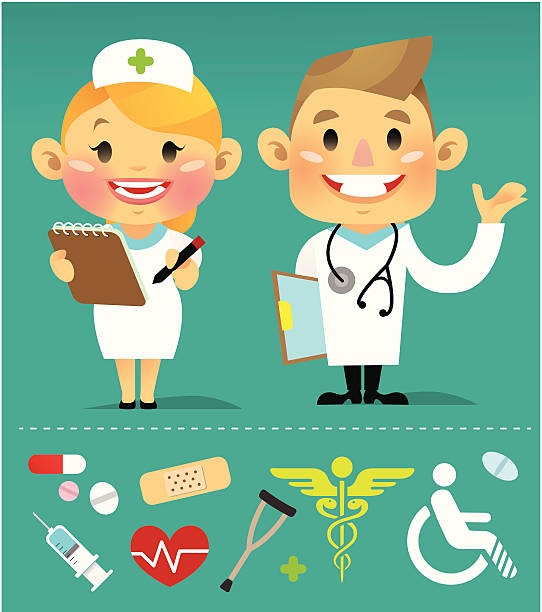 doctor and nurse - chihhang stock illustrations