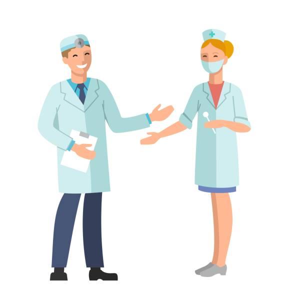 bildbanksillustrationer, clip art samt tecknat material och ikoner med läkare och sjuksköterska. - two dentists talking