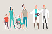 Doctor and nurse with patients vector illustration.
