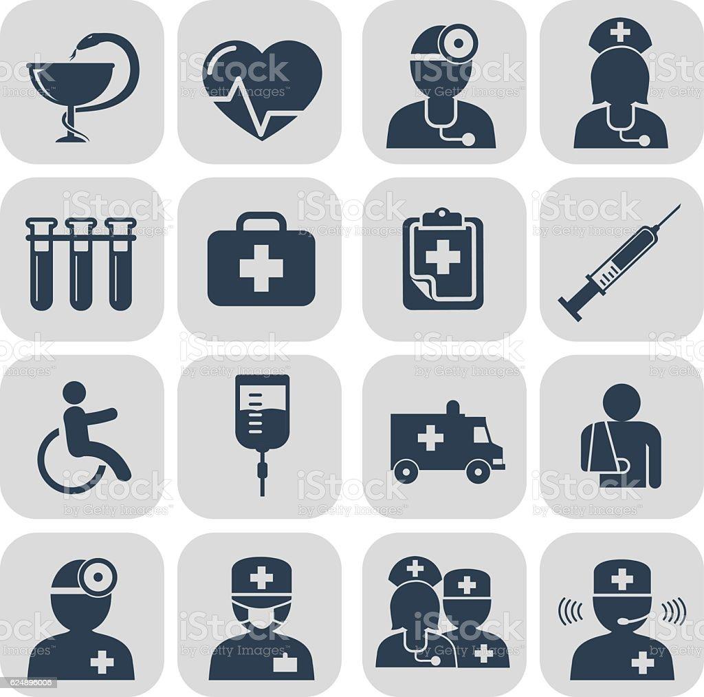 Médecin et les infirmières icônes sur gris  - Illustration vectorielle