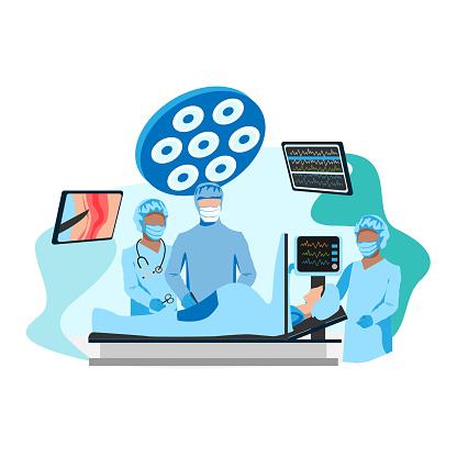 doctor and nurses perform a caesarean sectio