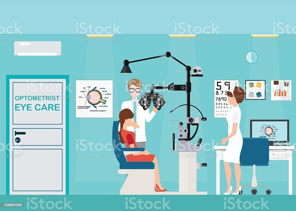 Arzt und patienten im Ophthalmologist innen. – Vektorgrafik