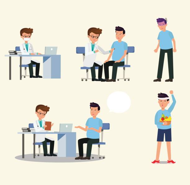 doctor and patient character activity set vector.doctor and patient in medical activity, injection, examination, operation, pharmacy and health care. flat design. - physical therapy stock illustrations
