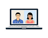 Doctor and patient conversing through wireless technology on laptop vector illustration