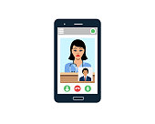 Doctor and patient conversing through wireless technology on smartphone vector illustration