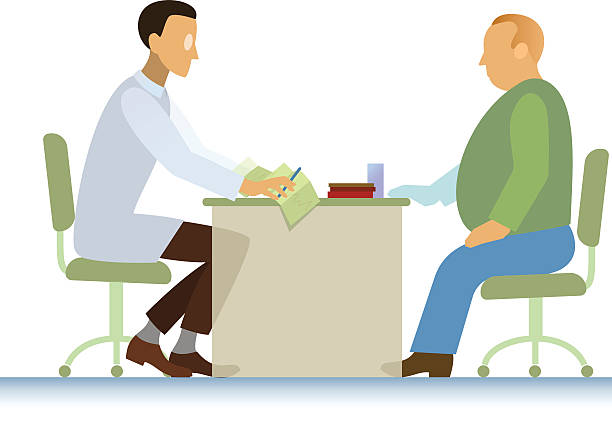 doctor and patient ecg overweight - old man sitting backgrounds stock illustrations, clip art, cartoons, & icons