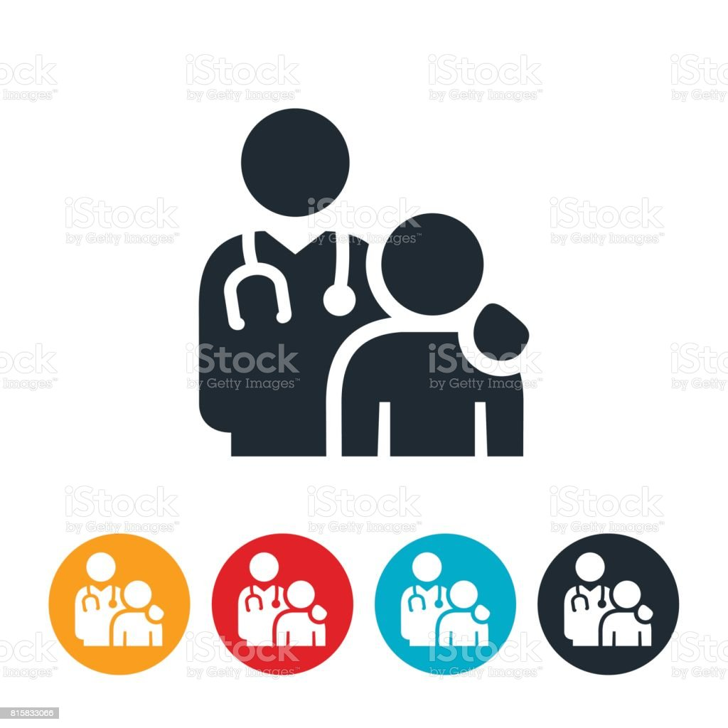 Doctor and Patient Icon vector art illustration