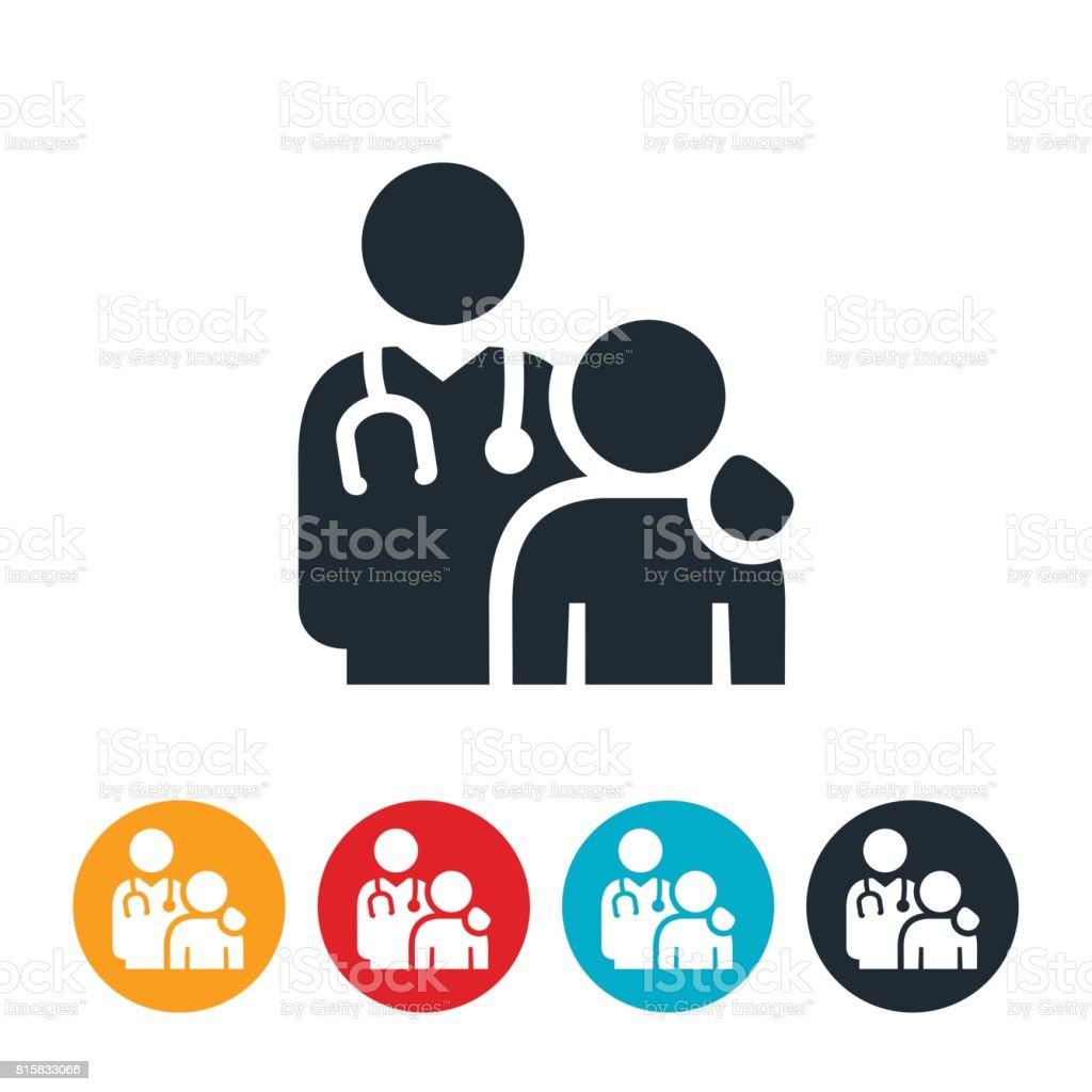 Médico y paciente icono - ilustración de arte vectorial