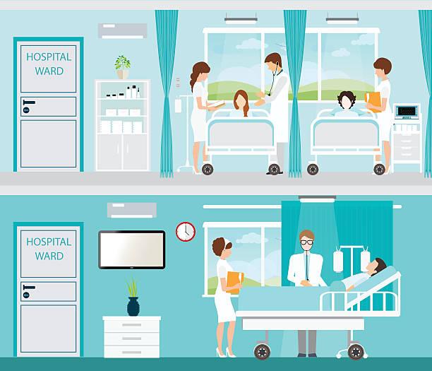 bildbanksillustrationer, clip art samt tecknat material och ikoner med doctor and patient in hospital room with beds. - sjukhusavdelning