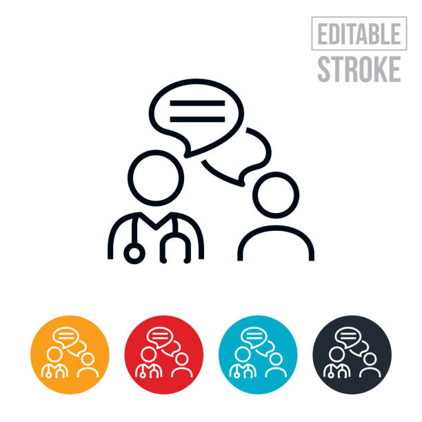 bildbanksillustrationer, clip art samt tecknat material och ikoner med läkare och patient online chat tunn linje ikon - redigerbar stroke - allmänläkare