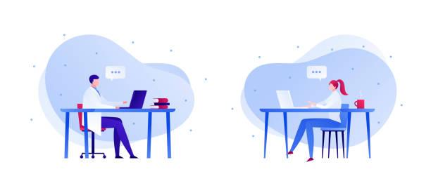 ilustraciones, imágenes clip art, dibujos animados e iconos de stock de ilustración de consulta en línea para médicos y pacientes. estilo plano. - telehealth
