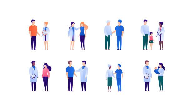 bildbanksillustrationer, clip art samt tecknat material och ikoner med läkare och patientsupportkoncept. vektor platt medicinsk person illustration uppsättning. insamling av olika unga, vuxna och äldre. doktorsmedicinyrket. designelement för banner, affisch. - patient