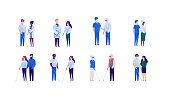 Doctor and patient support for blind people and family concept. Vector flat medical person illustration set. Collection of different nationality and age people. Design element for banner, poster.