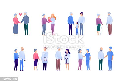 istock Doctor and patient support for senior people and family concept. Vector flat medical person illustration set. Collection of people character. Grandparents with baby. Design element for banner, poster. 1207057753