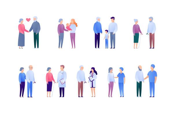 bildbanksillustrationer, clip art samt tecknat material och ikoner med läkare och patientstöd för äldre och familjekoncept. vektor platt medicinsk person illustration uppsättning. samling av personer karaktär. mor- och farföräldrar med barn. designelement för banner, affisch. - allmänläkare