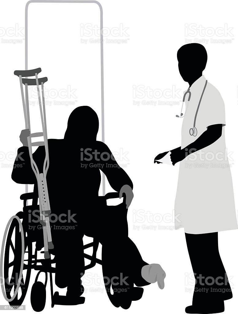 Doctor And Patient Talks vector art illustration