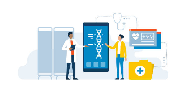 Doctor and patient using medical apps Doctor and patient using medical apps for diagnostics and making a DNA test to detect diseases, innovative healthcare concept dna test stock illustrations