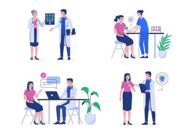 doctor and patient Doctor and patient. Can use for web banner, infographics, hero images.  Flat style vector illustration isolated on white background. doctor and patient stock illustrations