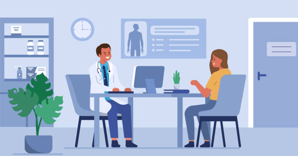 doctor and patient Woman talking with man doctor in his office. Patient having consultation with doctor therapist in hospital. Male and female medical people characters. Flat cartoon vector illustration. doctors office stock illustrations