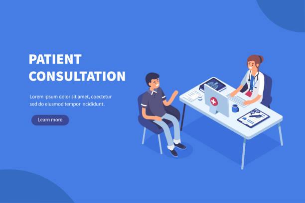 ilustraciones, imágenes clip art, dibujos animados e iconos de stock de médico y el paciente - técnico en urgencias médicas