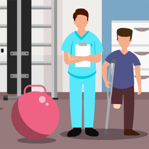 ilustraciones, imágenes clip art, dibujos animados e iconos de stock de médico y paciente sin una pierna en el centro de rehabilitación - medicina del deporte