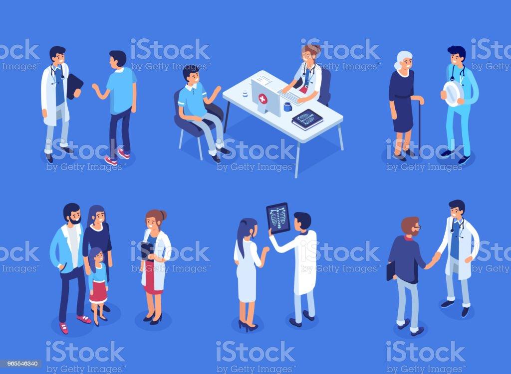 Médico e pacientes - Vetor de Adulto royalty-free