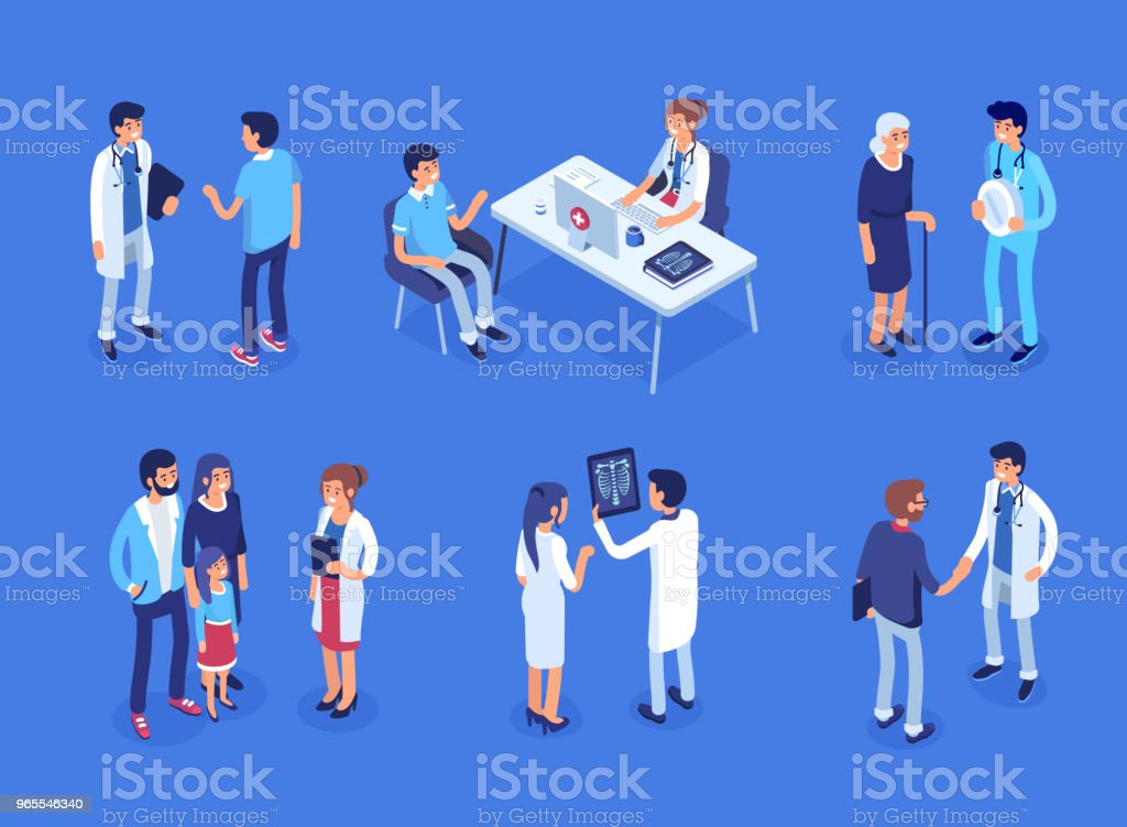 Doctor and patients vector art illustration