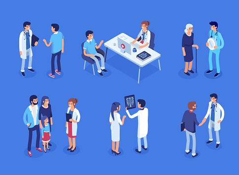 Vetores de Médico E Pacientes e mais imagens de Adulto
