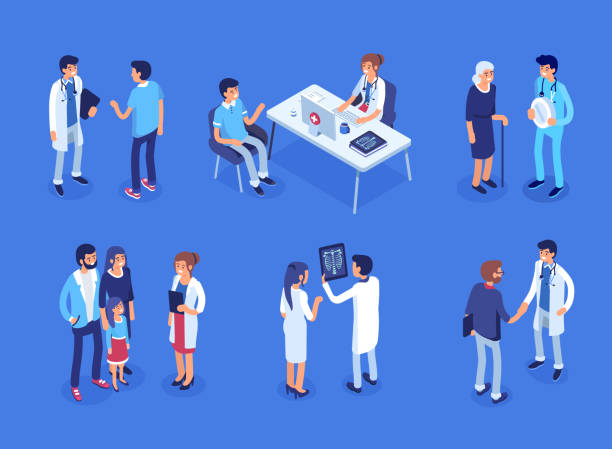Doctor and patients Doctor and patients concept banner with characters. Can use for web banner, infographics, hero images. Flat isometric vector illustration. radiology stock illustrations