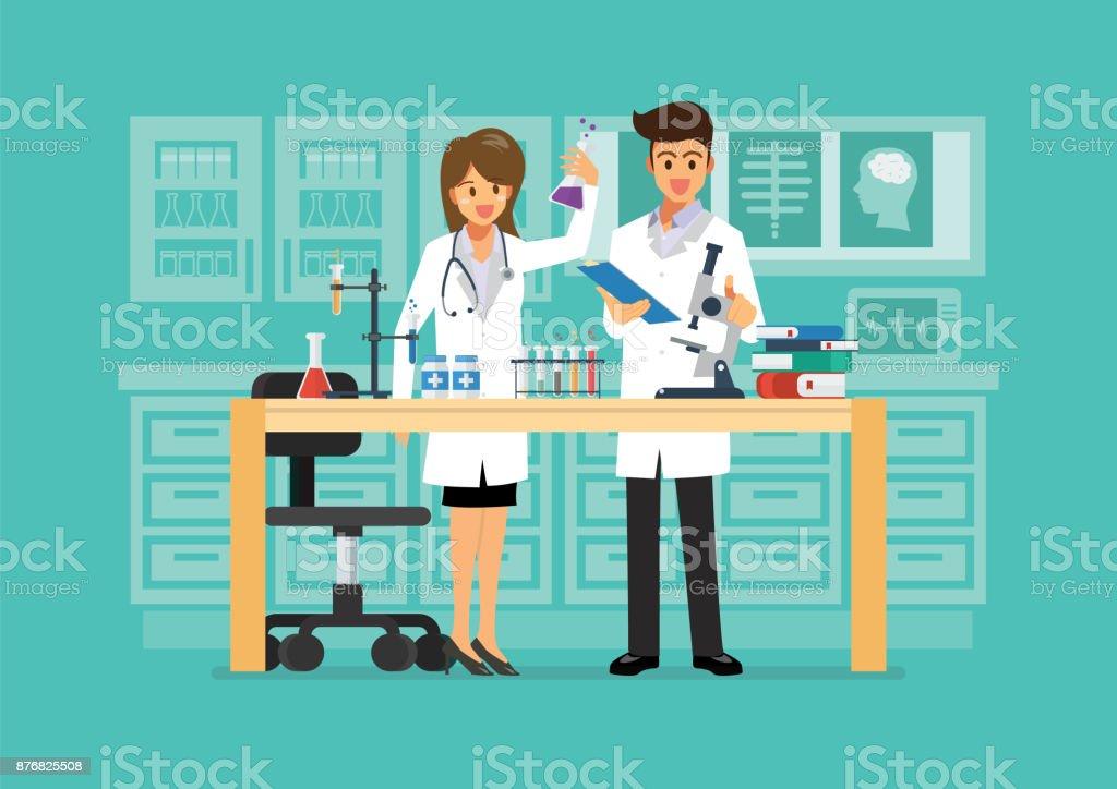 Técnico médico e ciência fazendo pesquisa no laboratório médico - ilustração de arte em vetor