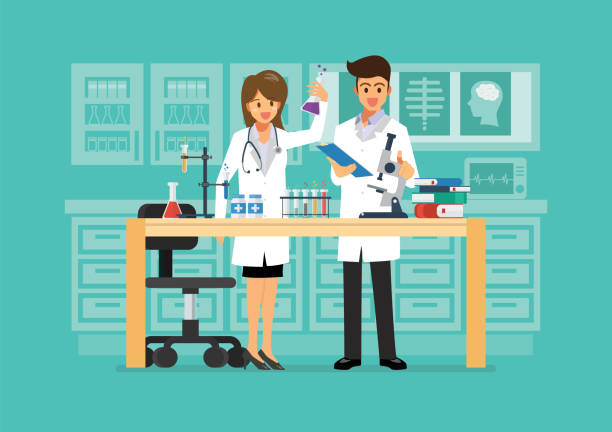Doctor and science technician doing research in medical laboratory vector art illustration