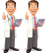 A cheerful doctor and scientist with a stethoscope wearing a red tie, a blue shirt and a lab coat, holding a a tablet computer and gesturing thumbs up. EPS 10, everything grouped and labeled in layers.