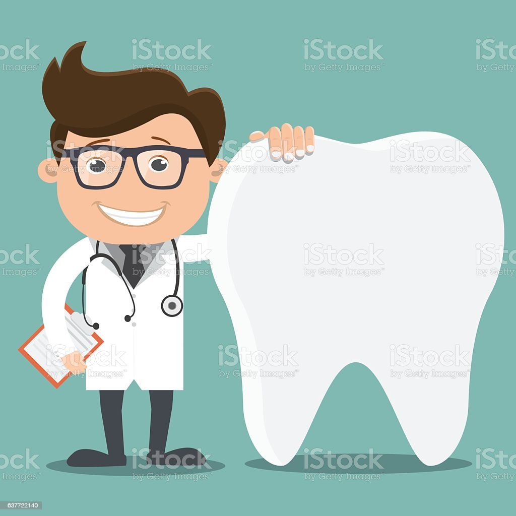 Doctor and teeth , Dentist concept - vector illustration vector art illustration