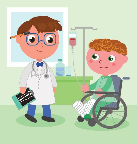 Doctor and young patient in wheelchair vector vector art illustration