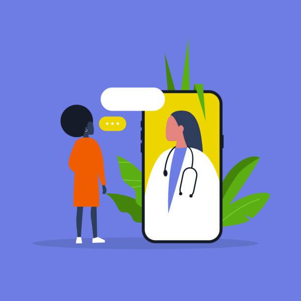 doctor appointment. online consultation. modern healthcare technologies. hospital. millennial female patient. flat editable vector illustration, clip art - telemedicine stock illustrations
