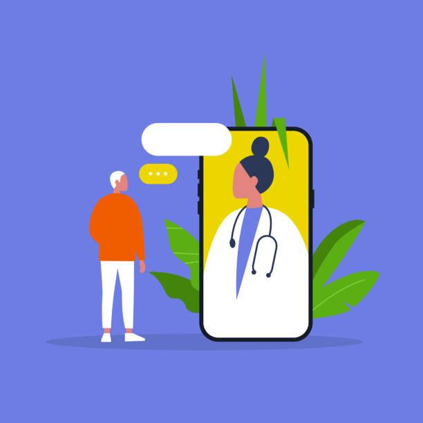 doctor appointment. online consultation. modern healthcare technologies. hospital. millennial male patient. flat editable vector illustration, clip art - telemedicine stock illustrations